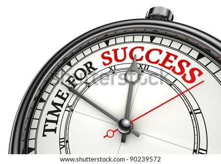 time for success concept clock closeup on white background with red and black words - stock photo