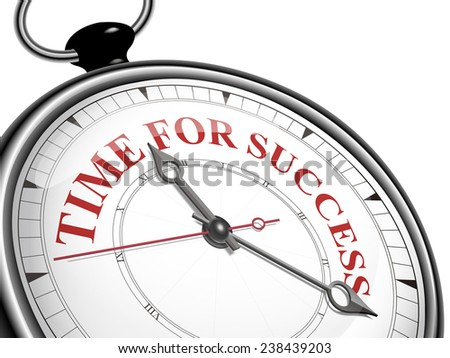 time for success concept clock isolated on white background - stock photo