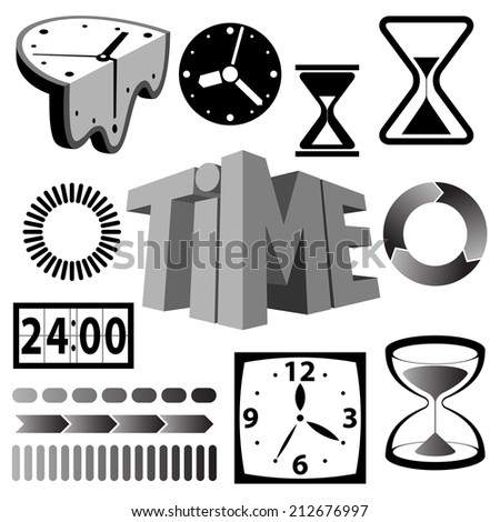 Time icons and signs raster version - stock photo