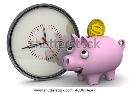 Time is money. Analog clock and piggy bank with a coin of the American dollar on a white surface. Financial concept. 3D Illustration. Isolated - stock photo