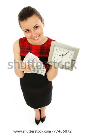 time is money - businesswoman cheerful holding clock and cash in hands isolated on white background - stock photo