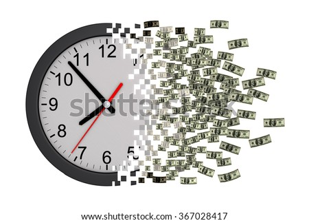 Time Is Money. Clock Falling Apart To Dollars. 3D Model. - stock photo