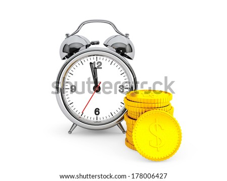Time is Money concept. Alarm Clock with golden coin on a white background - stock photo