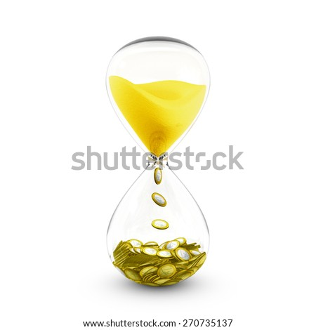 Time is money concept based on hourglass that transforms the golden sand to coins. - stock photo