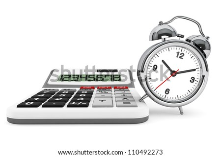 Time is Money Concept. Calculator and alarm clock on a white background - stock photo