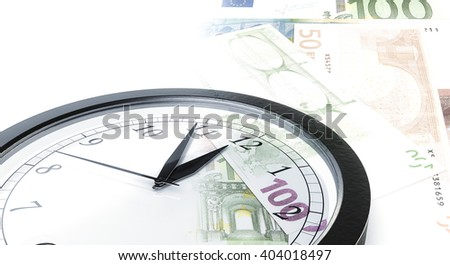 Time is money concept with clock and bank notes - stock photo