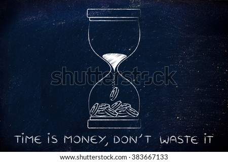 time is money, don't waste it: hourglass with sand turning into coins - stock photo