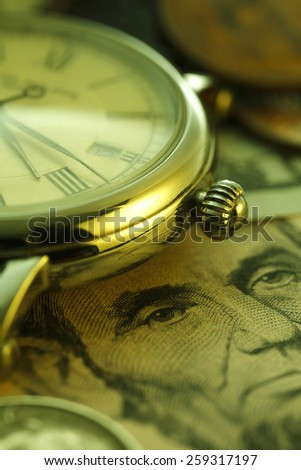 Time is money. Green Tone.Clock in US dollars - stock photo