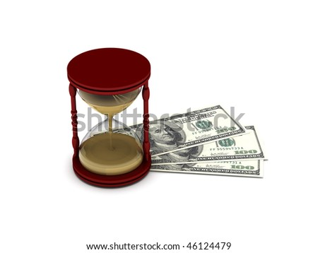 Time is money. Hourglass on hundred-dollar bills isolated on white background. High quality 3d render. - stock photo
