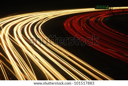 Time lapse of Hollywood Freeway at night in Los Angeles, California - stock photo