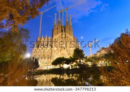Time-lapse of Sagrada Familia, Barcelona, Spain - stock photo
