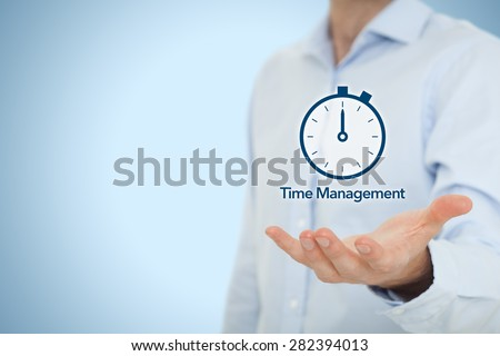 Time management and deadline concept. Businessman with clock watch expecting deadline.  - stock photo