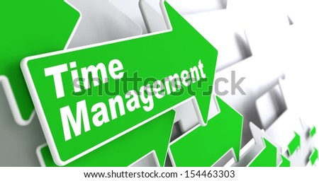 "Time Management - Business Concept. Green Arrow with ""Time Management"" Slogan on a Grey Background. 3D Render. - stock photo"