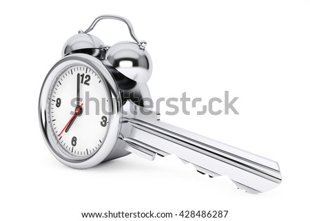 Time Management Concept. Alarm Clock as Key on a white background. 3d Rendering - stock photo