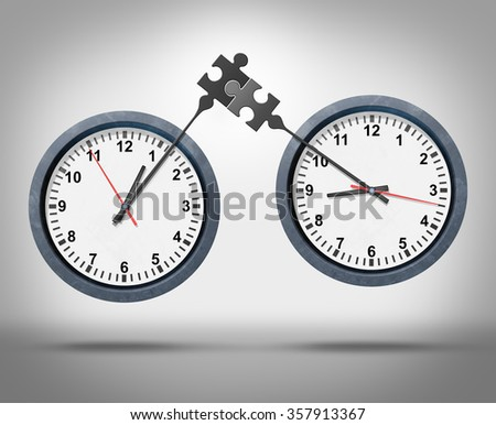 Time management concept as two clocks with minute hands connecting as a puzzle representing global business appointment schedules in sync or synchronization between different time zones. - stock photo