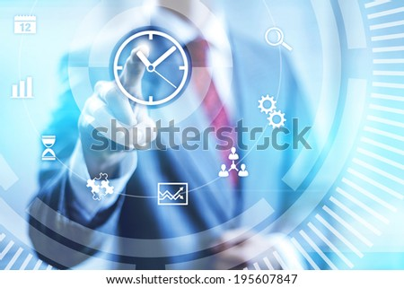 Time management concept pointing finger - stock photo
