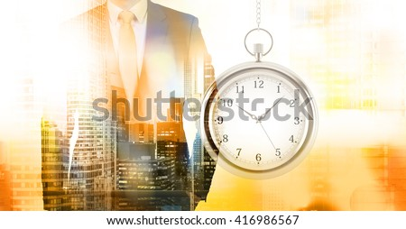 Time management concept with businessman and New York city view. Double exposure - stock photo