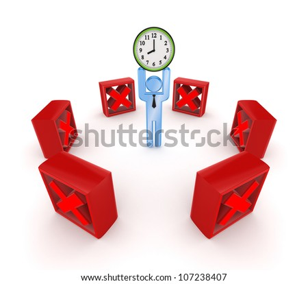Time managment concept.Isolated on white background.3d rendered. - stock photo