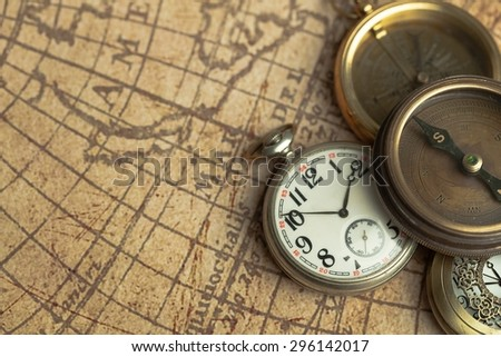 Time, Old, Compass. - stock photo
