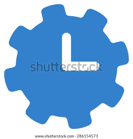 Time settings icon from Business Bicolor Set. This flat glyph symbol uses cobalt color, rounded angles, and isolated on a white background. - stock photo