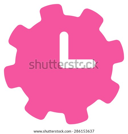 Time settings icon from Business Bicolor Set. This flat glyph symbol uses pink color, rounded angles, and isolated on a white background. - stock photo