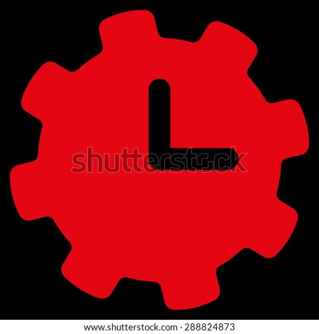 Time settings icon from Business Bicolor Set. This flat raster symbol uses red color, rounded angles, and isolated on a black background. - stock photo