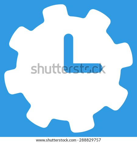 Time settings icon from Business Bicolor Set. This flat raster symbol uses white color, rounded angles, and isolated on a blue background. - stock photo