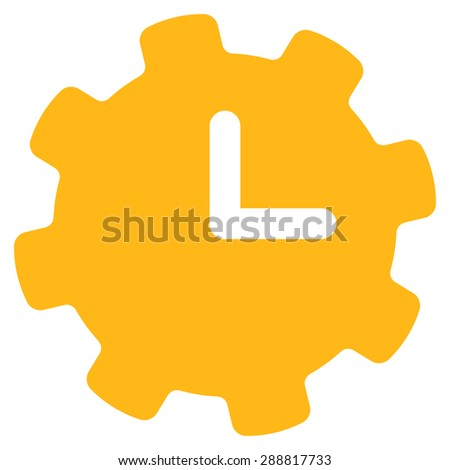 Time settings icon from Business Bicolor Set. This flat raster symbol uses yellow color, rounded angles, and isolated on a white background. - stock photo