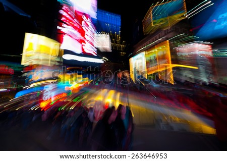 Time Square in defocused by the lens technique - stock photo