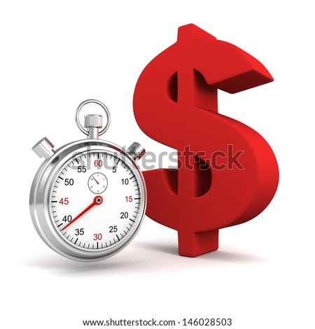 time stopwatch with big red dollar symbol - stock photo