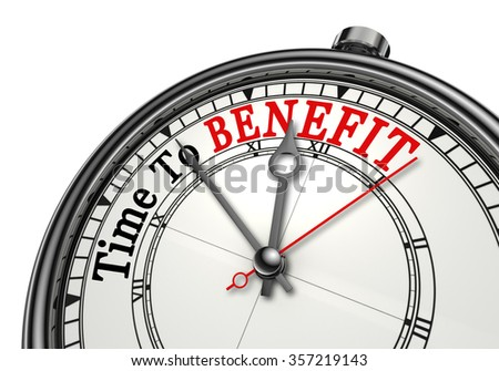Time to benefit motivation concept clock, isolated on white background - stock photo