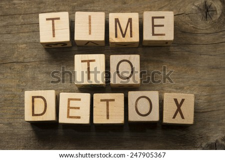 Time To Detox text on a wooden cubes on a wooden background - stock photo