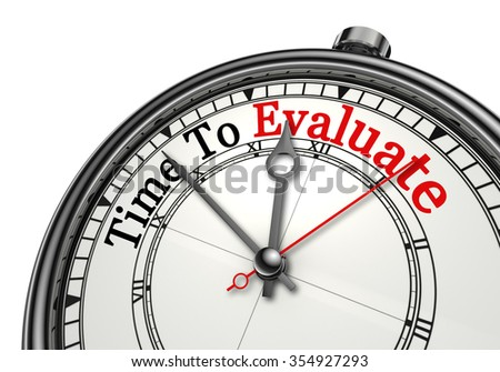Time to evaluate red word on concept clock, isolated on white background - stock photo