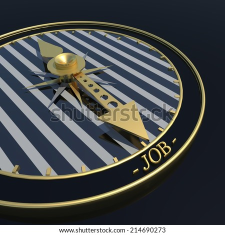time to find job - clock and golden pointers - stock photo
