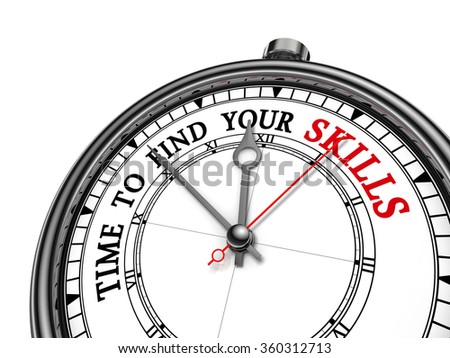 Time to find your skills motivation concept clock, isolated on white background - stock photo