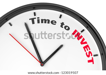 Time to Invest concept. Modern clock with sign on a white background - stock photo