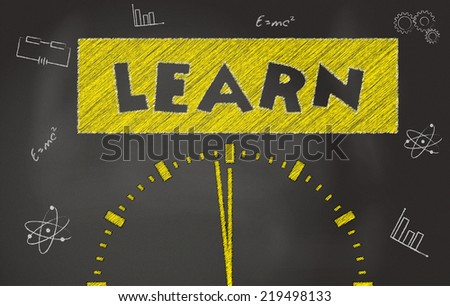 Time to learn conceptual image Over Black Chalkboard - stock photo
