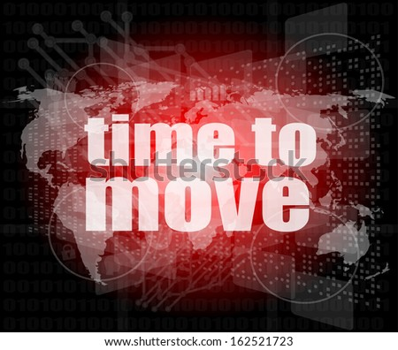 time to move words on digital touch screen, raster - stock photo