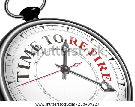 time to retire concept clock isolated on white background - stock photo