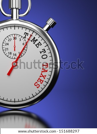"""Time To Taxes Concept. Stopwatch with """"Time To Taxes"""" slogan on a blue background. 3D Render. - stock photo"""