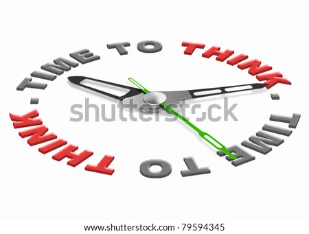 time to think for finding a solution and answer to a difficult question. Red text with clock. Hour for self reflection. - stock photo