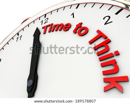 Time to think on a alarm clock its 1 minute to twelve - stock photo
