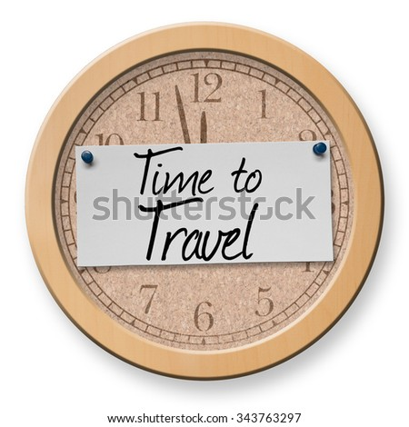 Time to Travel text on clock bulletin board sign - stock photo