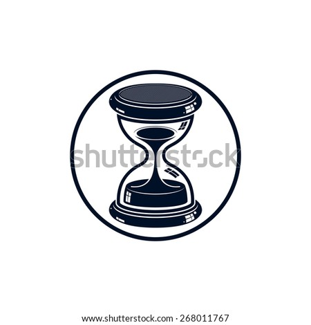 Time without end conceptual icon, web design element. 3d antique hourglass isolated on white. Time management idea. - stock photo