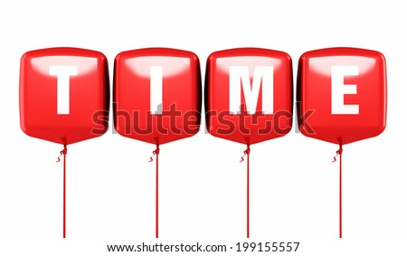 Time writing Red cube balloons render (isolated on white and clipping path) - stock photo