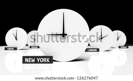 Time zone clocks - stock photo