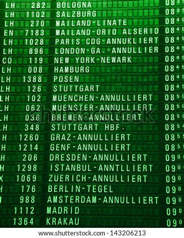 Timeboard in the modern airport - stock photo