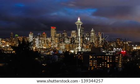 Timed exposure of downtown Seattle  looking at Space Needle - stock photo