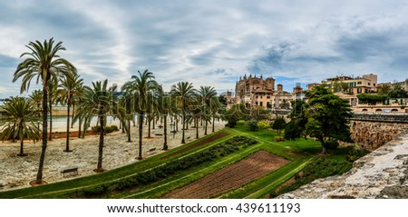 Timelapse 4k: Cathedral of Santa Maria of Palma, more commonly referred to as La Seu, is Gothic Roman Catholic cathedral located in Palma, Majorca, Spain, built on site of a pre-existing Arab mosque. - stock photo