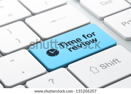 Timeline concept: computer keyboard with Clock icon and word Time for Review, selected focus on enter button, 3d render - stock photo